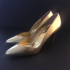 Vintage ALLURE 1990s Gold Spike Heel Pumps 8.5